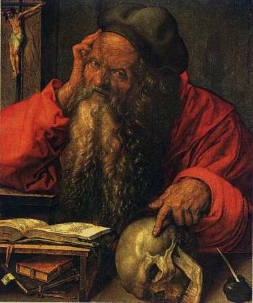 St Jerome 1521, oil on oak panel 23x19 in. National Art Museum, Lisbon